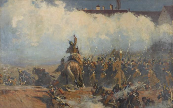 Rosyjska piechota w natarciu, prowadzona przez konnego dowódcę - fragment Panoramy Siedmiogrodzkiej