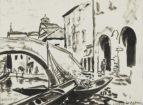 """Autor: Stanisław Westwalewicz (1906-1997) Tytuł: """"Wenecja"""" Czas powstania: 1943 r. Materiał/technika: papier/tusz Wymiary: wys. 16 cm; szer. 22 cm"""