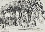 """Autor: Stanisław Westwalewicz (1906-1997) Tytuł: """"Park w Rzymie"""" Czas powstania: 1946 r. Materiał/technika: papier/tusz Wymiary: wys. 14 cm; szer. 19 cm"""
