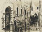 """Autor: Stanisław Westwalewicz (1906-1997) Tytuł: """"Wenecja"""" Czas powstania: 1944 r. Materiał/technika: papier/tusz Wymiary: wys. 21 cm; szer. 28 cm"""