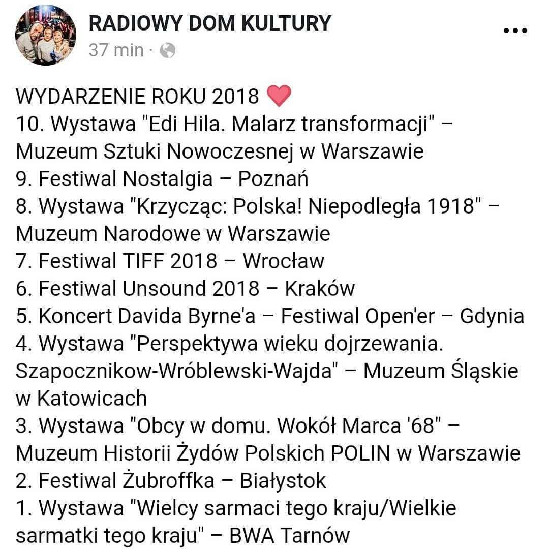 wyniki plebiscytu - print screen z Facebooka audycji Radiowy Dom Kultury