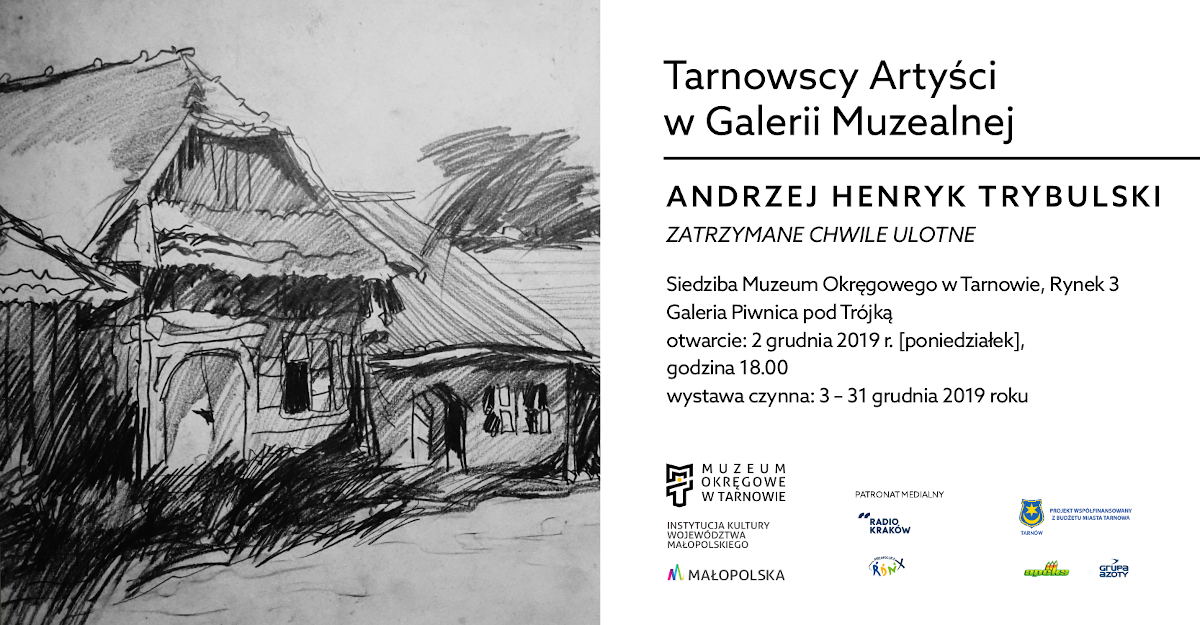 baner promujący wystawę Andrzej Henryka Trybulskiego