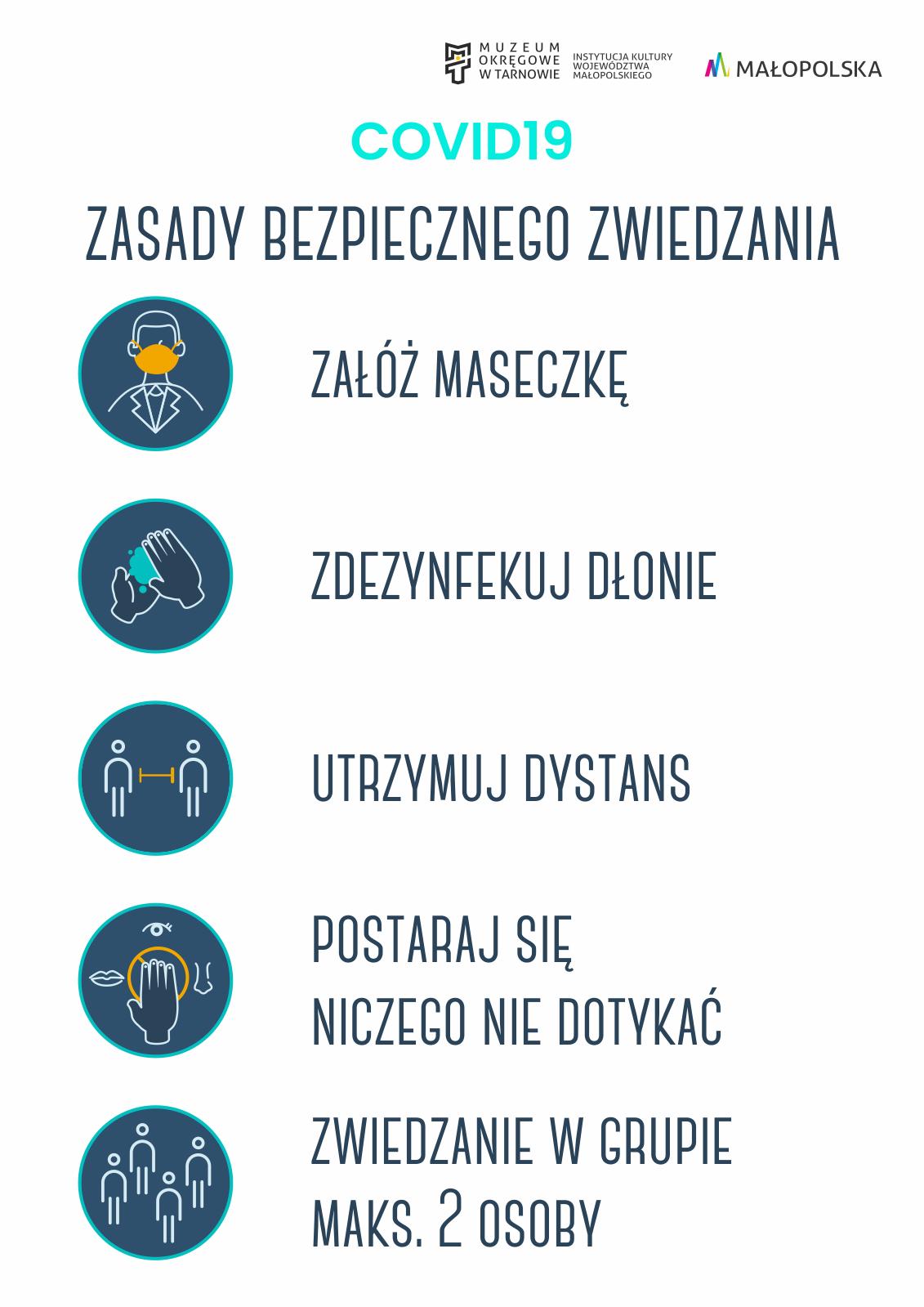 infografika przedstawiająca zasady bezpiecznego zwiedzania
