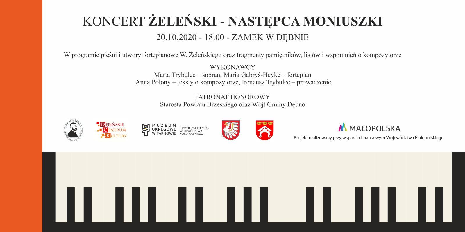 """baner promujący koncert """"Żeleński - następca Moniuszki"""""""