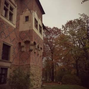 fragment zamku orazdrzewa zpożółkłymi liśćmi