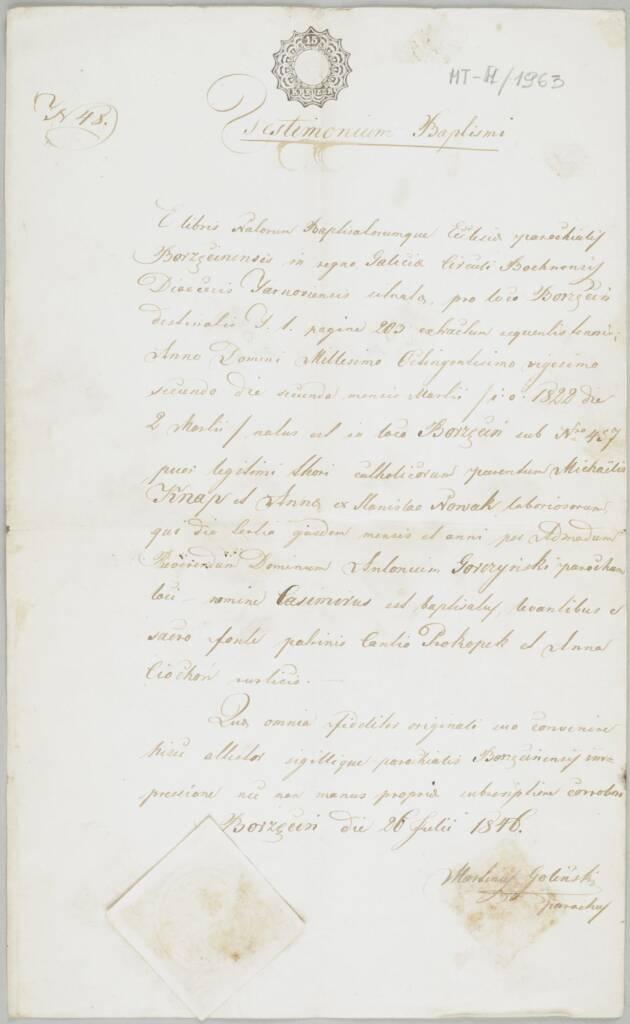 Świadectwo chrztu Kazimierza s. Michała iAnny Knapów, Borzęcin 26 VII 1846